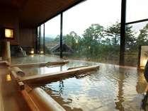 ≪廿ニの湯≫「古代檜湯」季の湯西 窓からの景色に癒されて