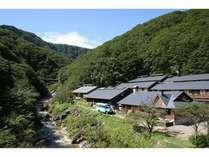 8月はブナ林の山を背に、川風がとても心地よい。
