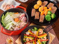 【ご夕食一例】豊後牛の中の豊後牛「豊後牛頂」や柚子胡椒鍋やカルパッチョなど他約9品のご夕食。