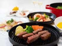 【夕食】豊後牛「頂」鉄皿焼きメインの和欧風料理/一例