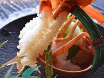 新鮮な蟹刺しも年中食べられます