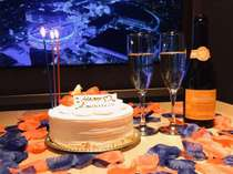デラックススイートの60インチのテレビでNETFLIXを愉しみながらお祝いを。