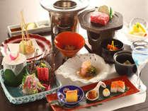 【グレードアップ会席 燈火】信州牛は2種類を食べ比べ!さらに客前寿司も含まれた贅沢なコースです。