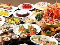 和洋中バラエティ豊かなディナービュッフェはお子様からご年配の方までお楽しみ頂けます。