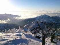 横手山まで朝イチからスキーへ!