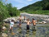 近くの川で水遊びの画像