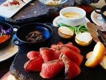 とある日の夕食(一例)。 信州産の素材をつかったコース料理を提供いたします。