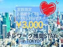 テレワークTOKYOSTAY TOKYO 室数限定3,000円から!