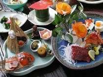 【夕食】一品一品美しく盛り付けられた料理をゆっくりお愉しみ下さい/一例