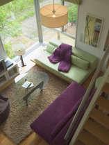 リビングは暖かみのある緑やベージュを基調とした内装。