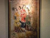 馬堀画伯が描いた高松塚古墳の壁画下絵(ロビーに展示)