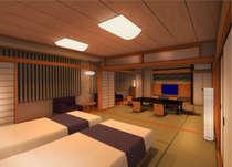 リニューアルした【和モダン】和室+ツインベッドルーム+広縁(禁煙)70平米