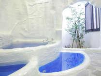 【パムッカレ】トルコの世界遺産を模した貸切風呂。幻想的でもあり楽しさいっぱい。源泉かけ流し