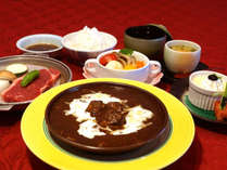 子連れ温泉プランのお子様膳は調理長特製ビーフシチューやステーキが付いたお子様にも人気の内容です