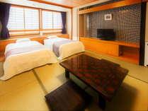 リニューアルされた【和モダン】和室+ツインベッド(禁煙)35平米