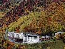 紅葉に囲まれたホテル大雪