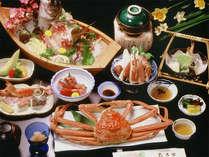 <舟盛りとカニ1匹付会席(例)>旬の食材を使ったお食事をオーシャンビューの個室でのんびりとご賞味★
