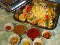 信州ハーブ鳥の洋風蒸し鍋・〆はリゾットで(夕食例)