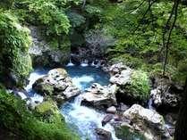 散策路途中より。深い青色の湯川が美しい渓谷。