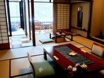 【介山荘 半露天風呂付客室】10畳間+広縁+半露天風呂付きのゆったり客室です♪