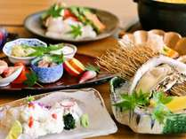 【夏季限定】絶品のぷりぷり感!相生産の岩牡蠣と瀬戸内産の穴子・あわびがついた『夏の彩り会席』