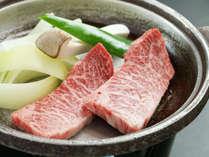 ■【お料理】会津牛の陶板焼き。細やかなサシが入り極上の食感です☆