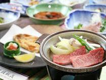 ■【お料理】夕食一例。会津牛の陶板焼きとイワナを贅沢に味わえます☆