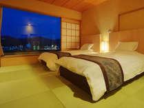 【特別室】和室にシモンズのツインベッドを備えた和モダン寛ぎの客室
