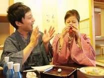 ご夕食は旅の楽しみのひとつ。お二人での楽しい時間をお過ごしくださいませ。