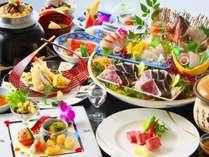 【旬彩物語/船遊びコース】和牛ロースの陶板焼き、金目鯛の多喜合わせ、かつお梅釜飯、かつおのタタキ付