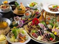 【旬彩物語/雪見コース】土佐鯛と旬魚の宗田節出汁鍋に牛ロースステーキ、かつおと土佐梅の釜飯付き