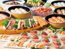 刺身やお寿司ももちろん食べ放題!刺身は季節限定の旬のネタもご用意しています♪