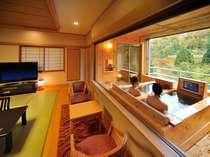 【半露天寝湯付き客室】二人で入れる寝湯付きの客室