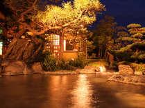 庭園露天風呂夜の風景