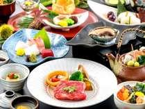 ダブルメインディッシュ【鮑】【博多黒毛和牛】を食す人気の会席。じっくりと五感でお召し上がりください。,福岡県,ほどあいの宿 六峰舘