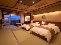 ◆準特別室-古処-◆2間続き。10畳(ベッドルーム)+6畳リビング+源泉かけ流し檜風呂付。2018年6月改装。,福岡県,ほどあいの宿 六峰舘
