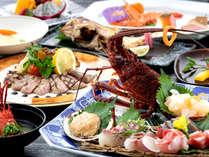 """""""プリプリ""""の伊勢海老と""""コリコリ""""のアワビ!その日に市場に入った新鮮な魚介を贅沢に姿盛りに♪"""