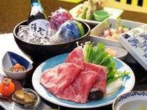和牛のしゃぶしゃぶが楽しめる夕食一例