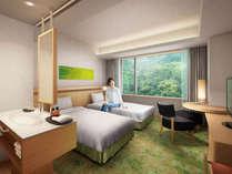 新館「AQUA SQUARE」コートヤードルーム。 緑と木漏れ日をイメージした安らぎのお部屋です。
