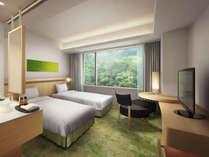 コートヤードルーム。 緑と木漏れ日をイメージした安らぎのお部屋です。