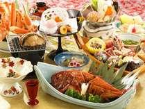 【夕食】「夕凪(ゆうなぎ)膳」アワビと金目鯛の煮付,静岡県,牧水荘 土肥館