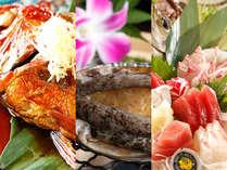【夕食】岬膳~旬魚の嶋台盛・アワビ踊り焼・金目鯛姿煮,静岡県,牧水荘 土肥館