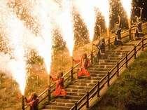 湯を護る鬼神の炎「地獄の谷の鬼花火」