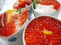 いっぱいのいくら丼やお好みで作る海鮮丼をお楽しみ下さい