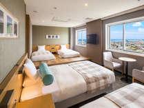 【オーシャンビュー デラックスフォース】客室最上階限定1室 3名様から4名様までご宿泊可能