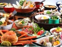 春の夕食の一例(紅ガニは2人前・一部実際と異なります))