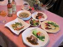 イタリアンも取り入れた欧風フルコース料理(メインは信州アルプス牛か牛フィレ肉です)