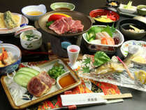 【夕食】和牛&地鶏の陶板焼き