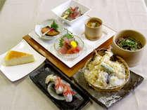 季節の食材を使用した夕食。(一例)