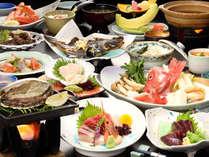 アワビの陶板焼きが付く渚御膳です。(冬季期間イメージ)